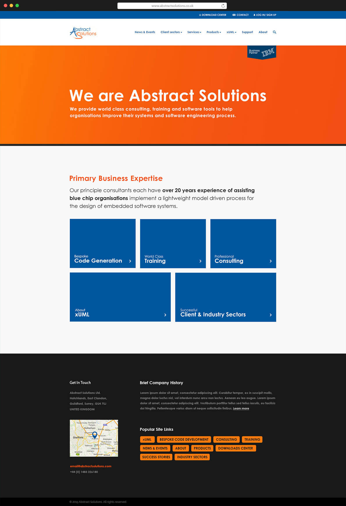 Abstract Solutions homepage design